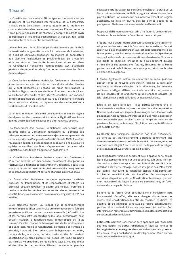 6 décalage entre les exigences constitutionnelles et la pratique. La Constitution tunisienne de 1959, malgré certaines dis...
