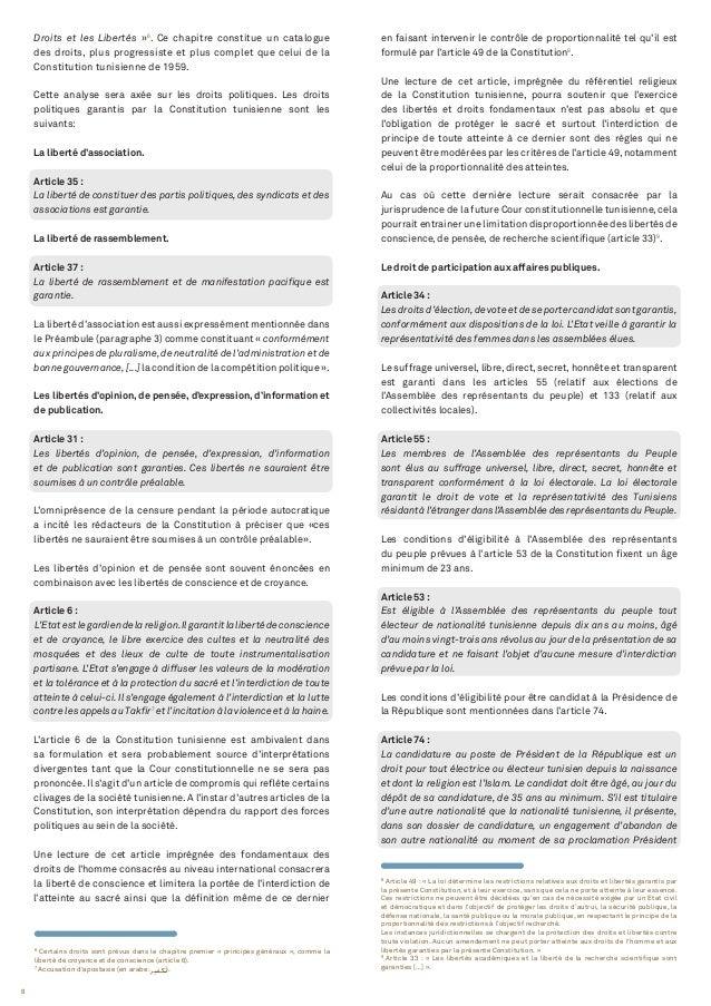 8 8 Article 49 : « La loi détermine les restrictions relatives aux droits et libertés garantis par la présente Constitutio...