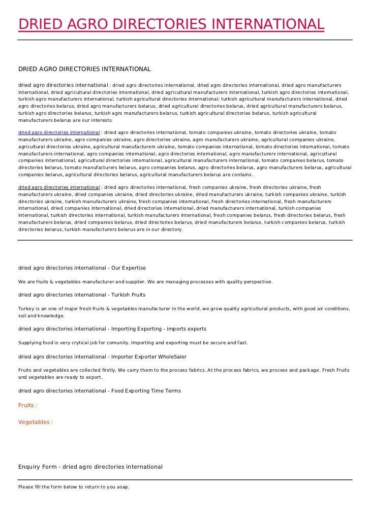 DRIED AGRO DIRECTORIES INTERNATIONALDRIED AGRO DIRECTORIES INTERNATIONALdried agro directories international : dried agro ...