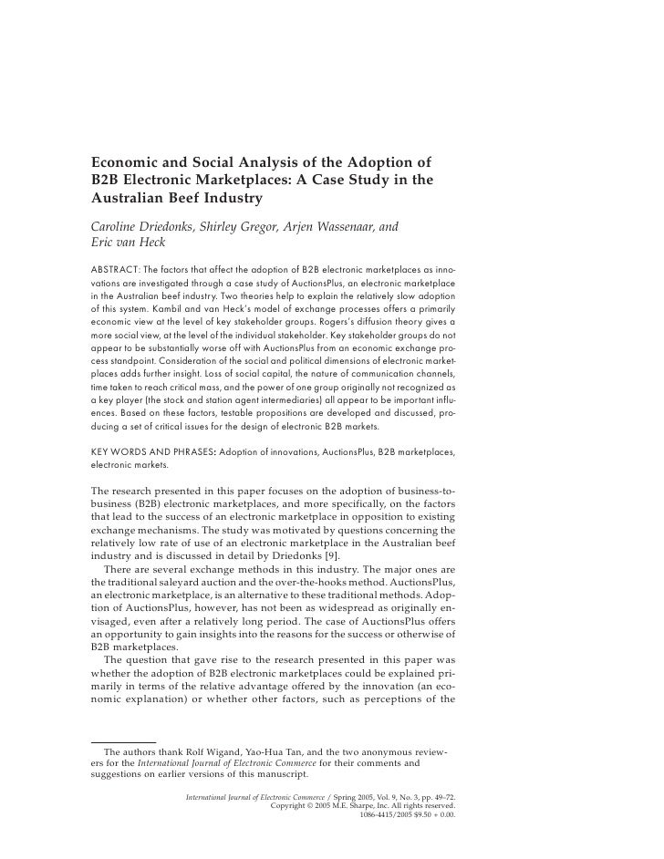 Economic and Social Analysis of the Adoption of B2B Electronic Marketplaces: A Case Study in the Australian Beef Industry ...