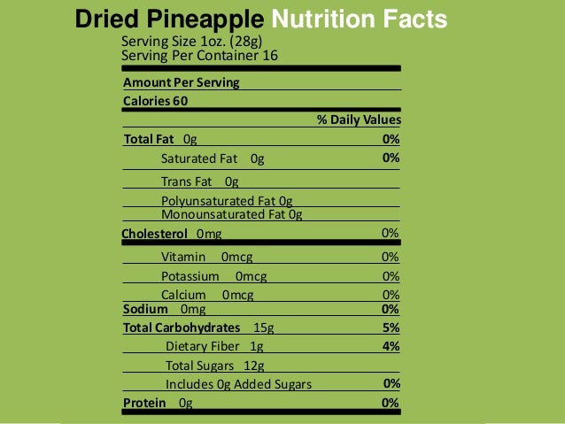 Dried pineapple nutrition facts