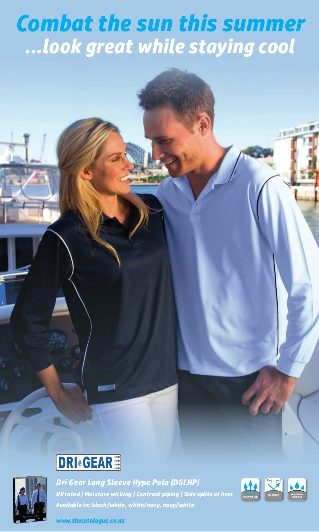 Combat the sun this summer ...look great while staying cool  Dri Gear Long Sleeve Hype Polo (DGLHP) UV rated | Moisture wi...