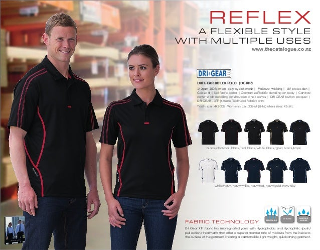 reflex  a flexible style with multiple uses www.thecatalogue.co.nz  Dri Gear reflex polo (DGRFP) 140gsm 100% micro poly ey...