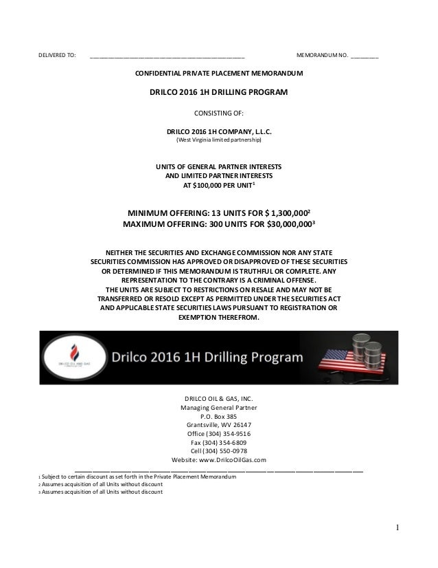 Drilco  H Drilling Program  Private Placement Memorandum