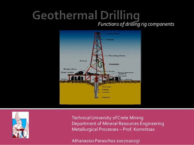 Functions of drilling rig components  Technical University of Crete Mining Department of Mineral Resources Engineering Met...
