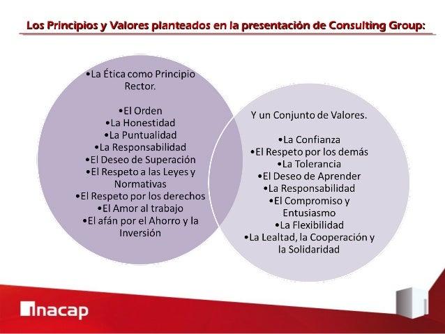 Los Principios y Valores planteados en la presentación de Consulting Group: