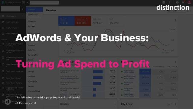 AdWords & Your Business: Turning Ad Spend to Profit The following material is proprietary and confidential 08 February 2018