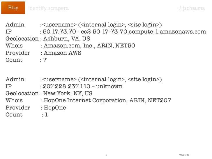 Identify scrapers.                                     @jschaumaAdmin      : <username> (<internal login>, <site login>)IP...