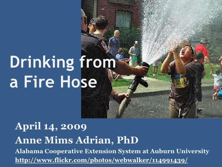 Drinking from a Fire Hose  April 14, 2009 Anne Mims Adrian, PhD Alabama Cooperative Extension System at Auburn University ...