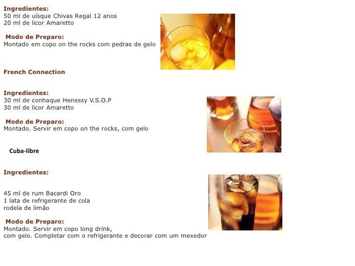 <br />Ingredientes:<br />50 ml de uísque ChivasRegal 12 anos20 ml de licor AmarettoModo de Preparo:Montado em copo onthe...