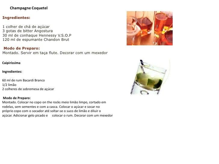 Ingredientes:<br />1 colher de chá de açúcar 3 gotas de bitterAngostura30 ml de conhaque Hennessy V.S.O.P120 ml de espuman...