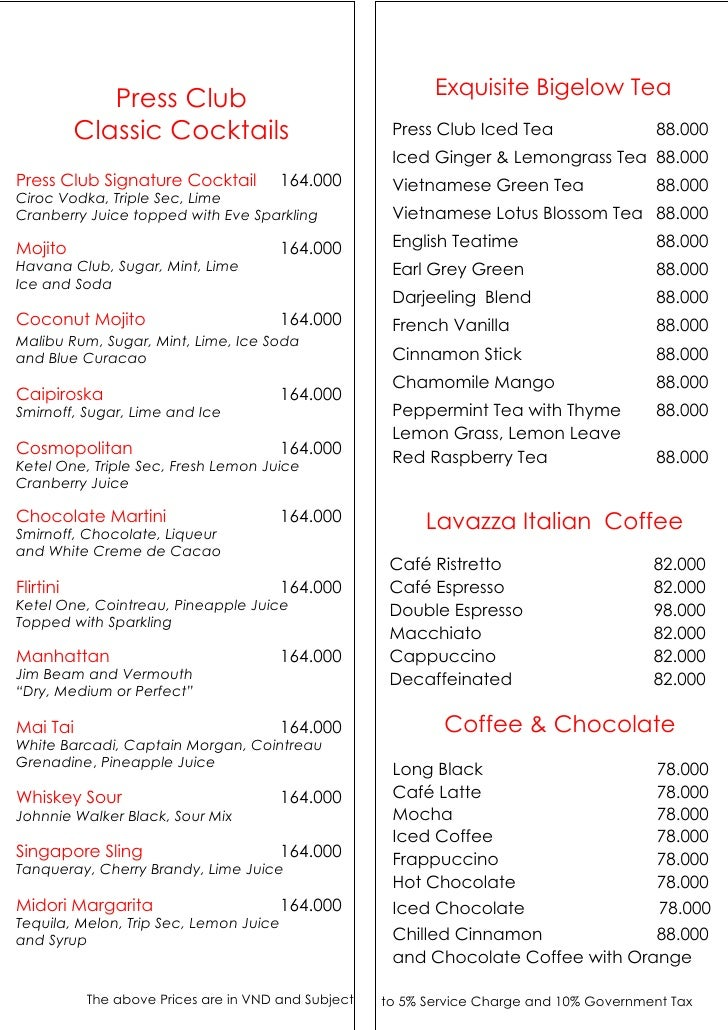 Press Club Hanoi Drink List