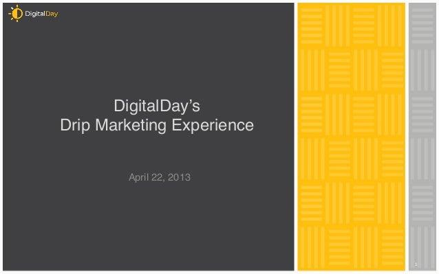 "1   DigitalDay's Drip Marketing Experience "" "" April 22, 2013"""