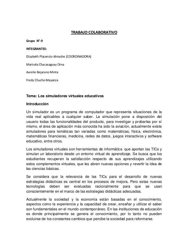 TRABAJO COLABORATIVO Grupo N°-9 INTEGRANTES: Elizabeth Placencio Almache (COORDINADORA) Maricela Chacasaguay Orna Aurelio ...