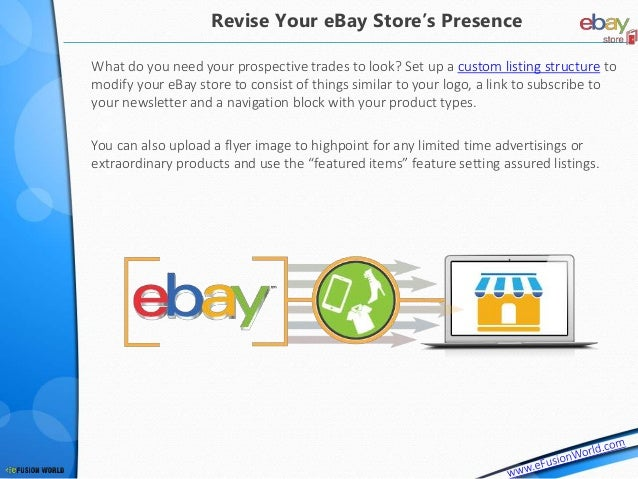 What do you need your prospective trades to look? Set up a custom listing structure to modify your eBay store to consist o...