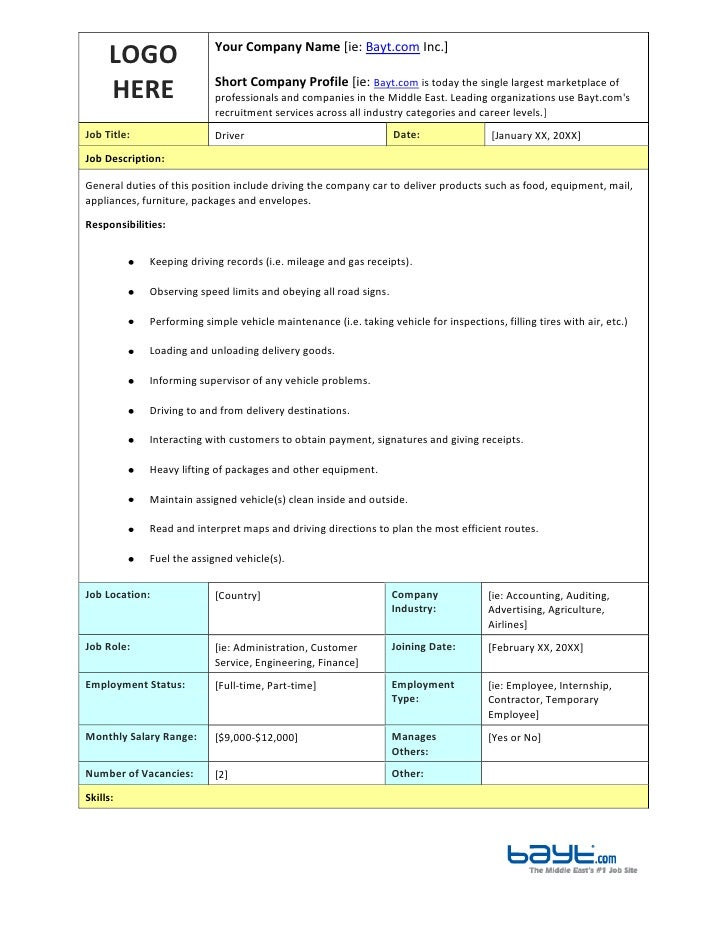 Driver Job Description Template by Bayt.com
