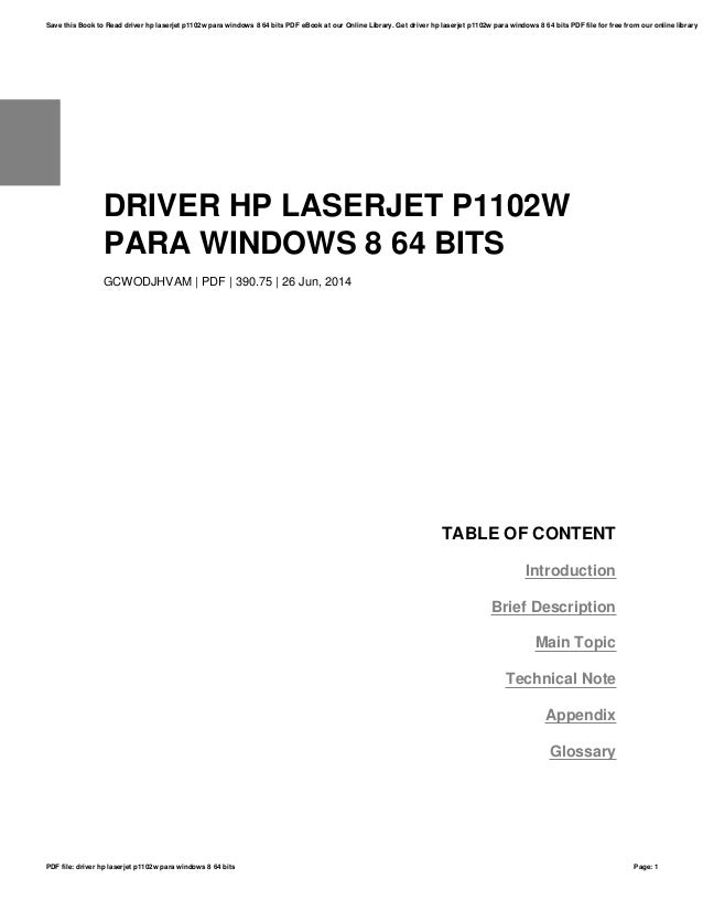 driver hp laserjet p1102w windows 8.1 64 bits