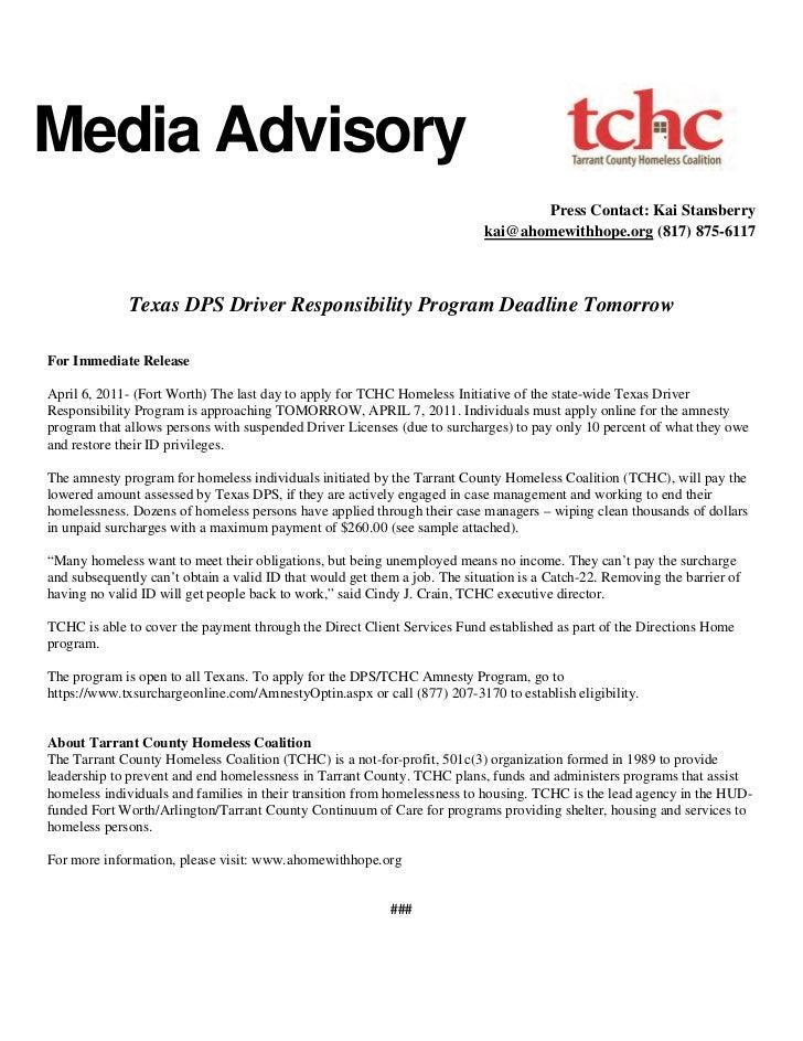 Media Advisory                                                                                  Press Contact: Kai Stansbe...