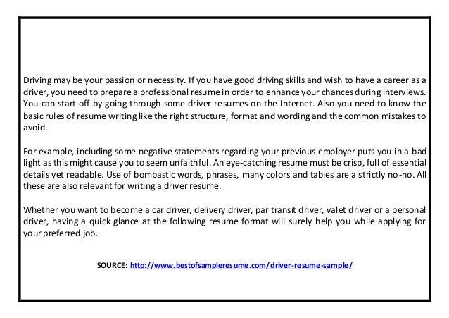 Driver Resume Sample