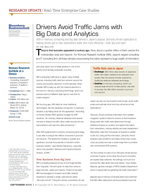 RESEARCH UPDATE | Real-Time Enterprise Case Studies  Drivers Avoid Traffic Jams with Big Data and Analytics With in-memory...