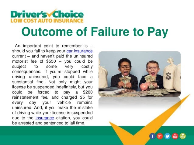Outcome of Failure to Pay An important point to remember is – should you fail to keep your car insurance current – and hav...