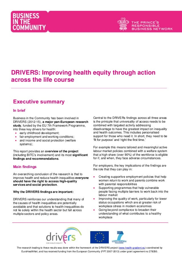Drivers Briefing For Employers Improving Health Equity Through Actio