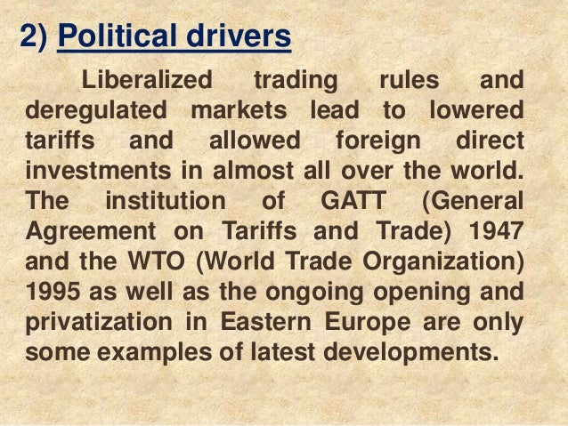drivers of globalisation Drivers of globalization the major drivers of globalization include from mgt 448 at university of phoenix.