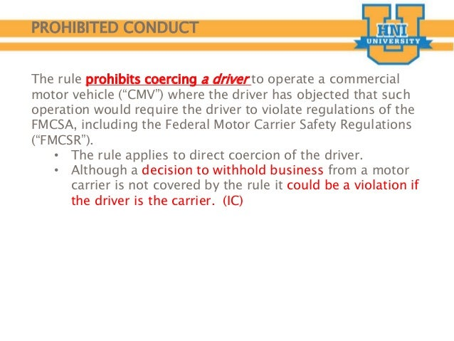 Driver training coercion for motor carriers for Federal motor carrier regulations
