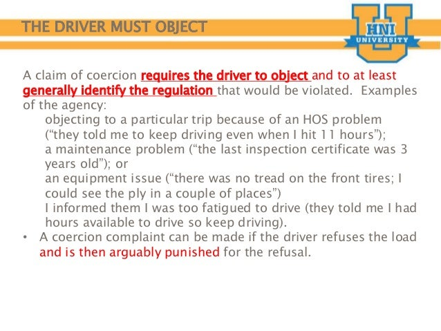 Driver Training Coercion For Motor Carriers