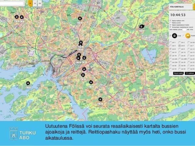 Uutuutena Fölissä voi seurata reaaliaikaisesti kartalta bussien ajoaikoja ja reittejä. Reittiopashaku näyttää myös heti, o...