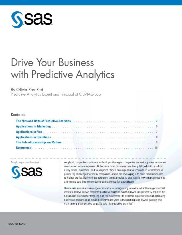 ©2012 SASContents The Nuts and Bolts of Predictive Analytics. .  .  .  .  .  .  .  .  .  .  .  .  .  .  .  .  .  .  .  . ...