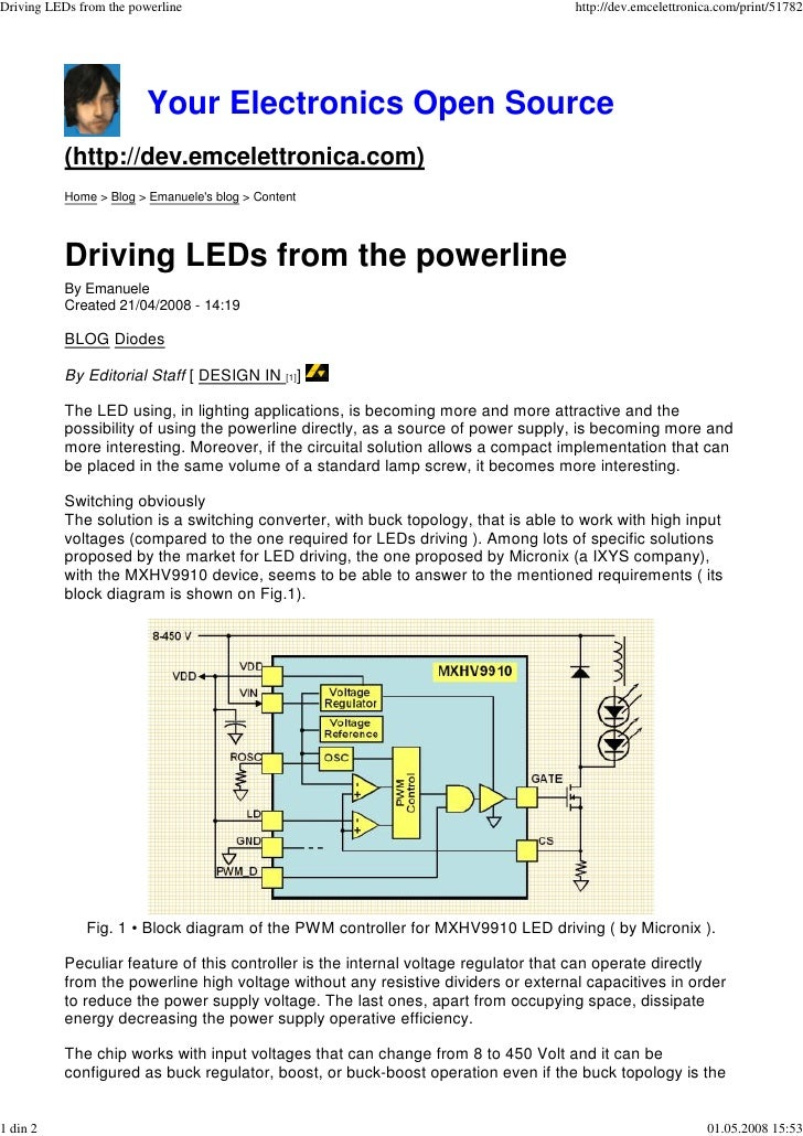 Driving LEDs from the powerline                                                     http://dev.emcelettronica.com/print/51...