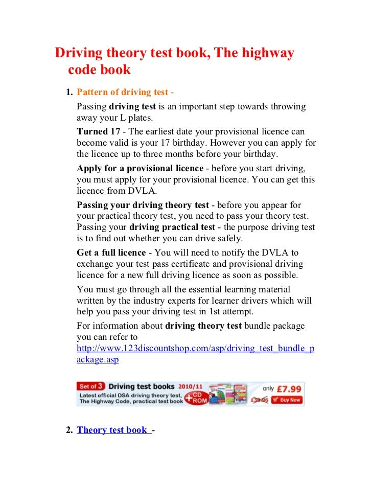 Driving theory test book, The highway code book 1. Pattern of driving test -    Passing driving test is an important step ...