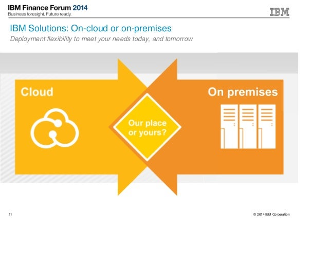 © 2014 IBM Corporation11 IBM Solutions: On-cloud or on-premises Deployment flexibility to meet your needs today, and tomor...
