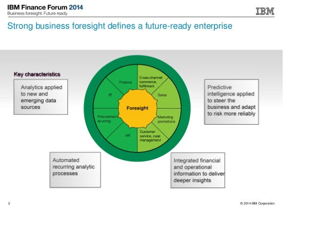 © 2014 IBM Corporation2 Strong business foresight defines a future-ready enterprise Analytics applied to new and emerging ...