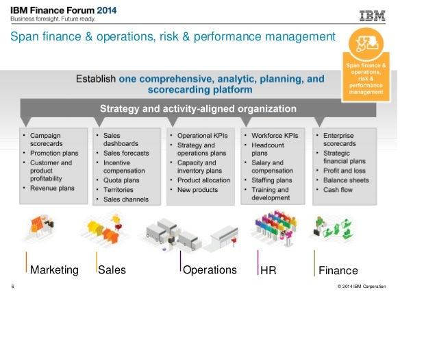 © 2014 IBM Corporation6 Span finance & operations, risk & performance management SalesMarketing FinanceOperations HR • Cam...