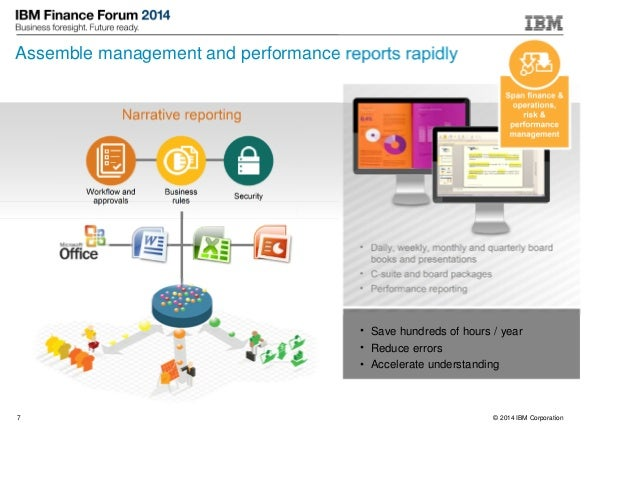 © 2014 IBM Corporation7 Assemble management and performance reports rapidly • Daily, weekly, monthly and quarterly board b...