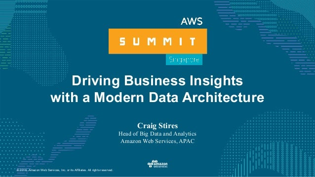 © 2016, Amazon Web Services, Inc. or its Affiliates. All rights reserved. Driving Business Insights with a Modern Data Arc...