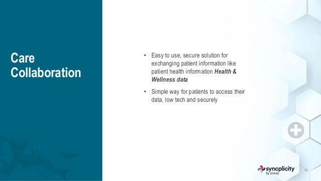 12 Care Collaboration • Easy to use, secure solution for exchanging patient information like patient health information He...