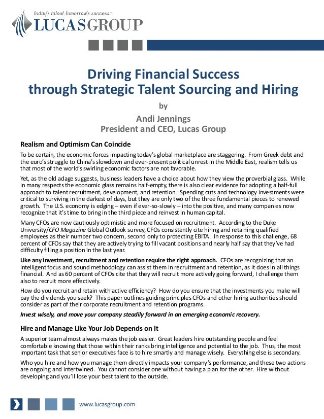Driving Financial Success   through Strategic Talent Sourcing and Hiring                                                  ...