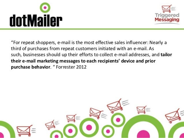"""""""For repeat shoppers, e-mail is the most effective sales influencer: Nearly athird of purchases from repeat customers init..."""