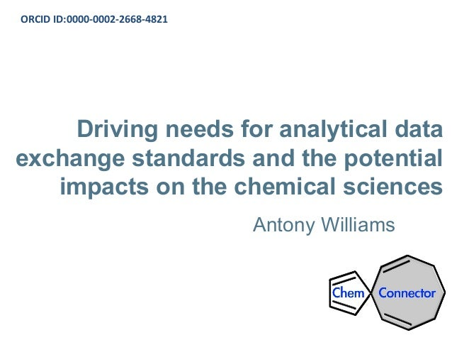 Driving needs for analytical data exchange standards and the potential impacts on the chemical sciences Antony Williams OR...
