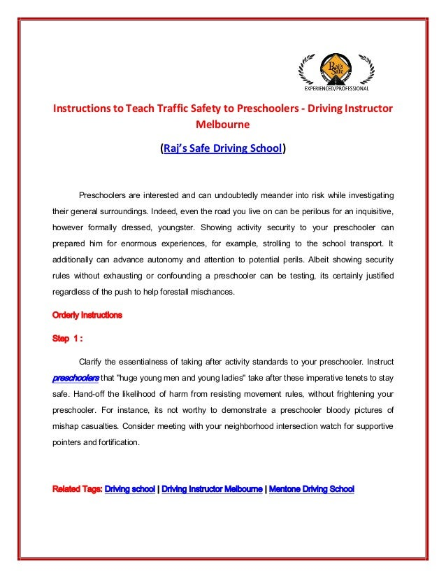 Instructions to Teach Traffic Safety to Preschoolers - Driving Instructor Melbourne (Raj's Safe Driving School) Preschoole...