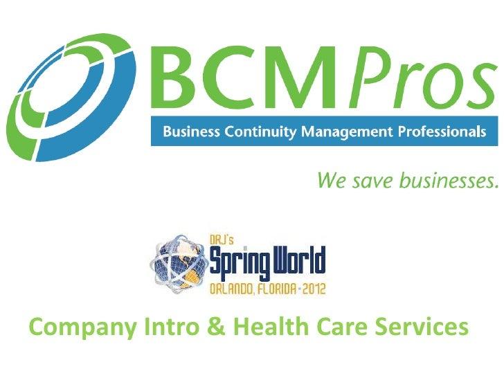 Company Intro & Health Care Services