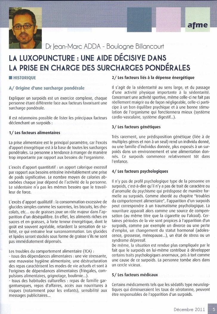 Dr Jean-More ADDA - Boulogne BillancourtLA LUXOPUNCTURE : UNE AIDE DÉCISIVE DANSLA PRISE EN CHARGE DES SURCHARGES PONDÉRAL...