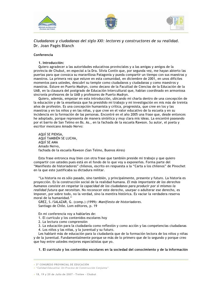 Ciudadanos y ciudadanas del siglo XXI: lectores y constructores de su realidad. Dr. Joan Pagès Blanch  Conferencia      1....