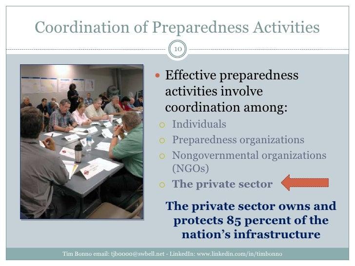 Coordination of Preparedness Activities<br />Effective preparedness activities involve coordination among:<br />Individual...