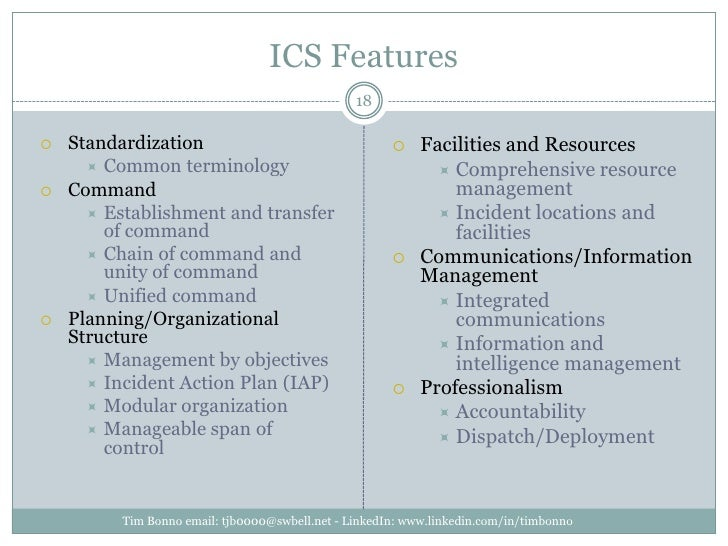 ICS Features<br />Standardization<br />Common terminology<br />Command<br />Establishment and transfer of command<br />Cha...