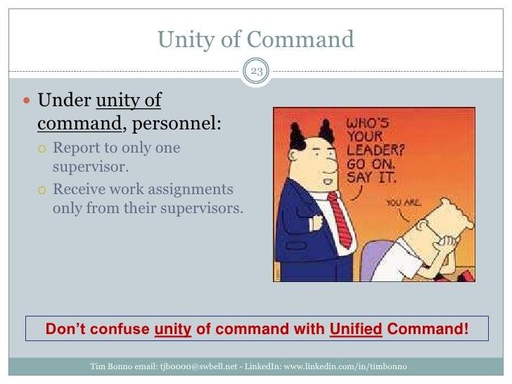 Unity of Command<br />Tim Bonno email: tjb0000@swbell.net - LinkedIn: www.linkedin.com/in/timbonno<br />Under unity of com...
