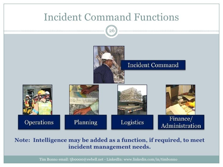 Incident Command Functions<br />Note:  Intelligence may be added as a function, if required, to meet incident management n...